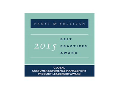 Winner of the Frost & Sullivan 2015 Global Customer Experience Management Product Leadership Award